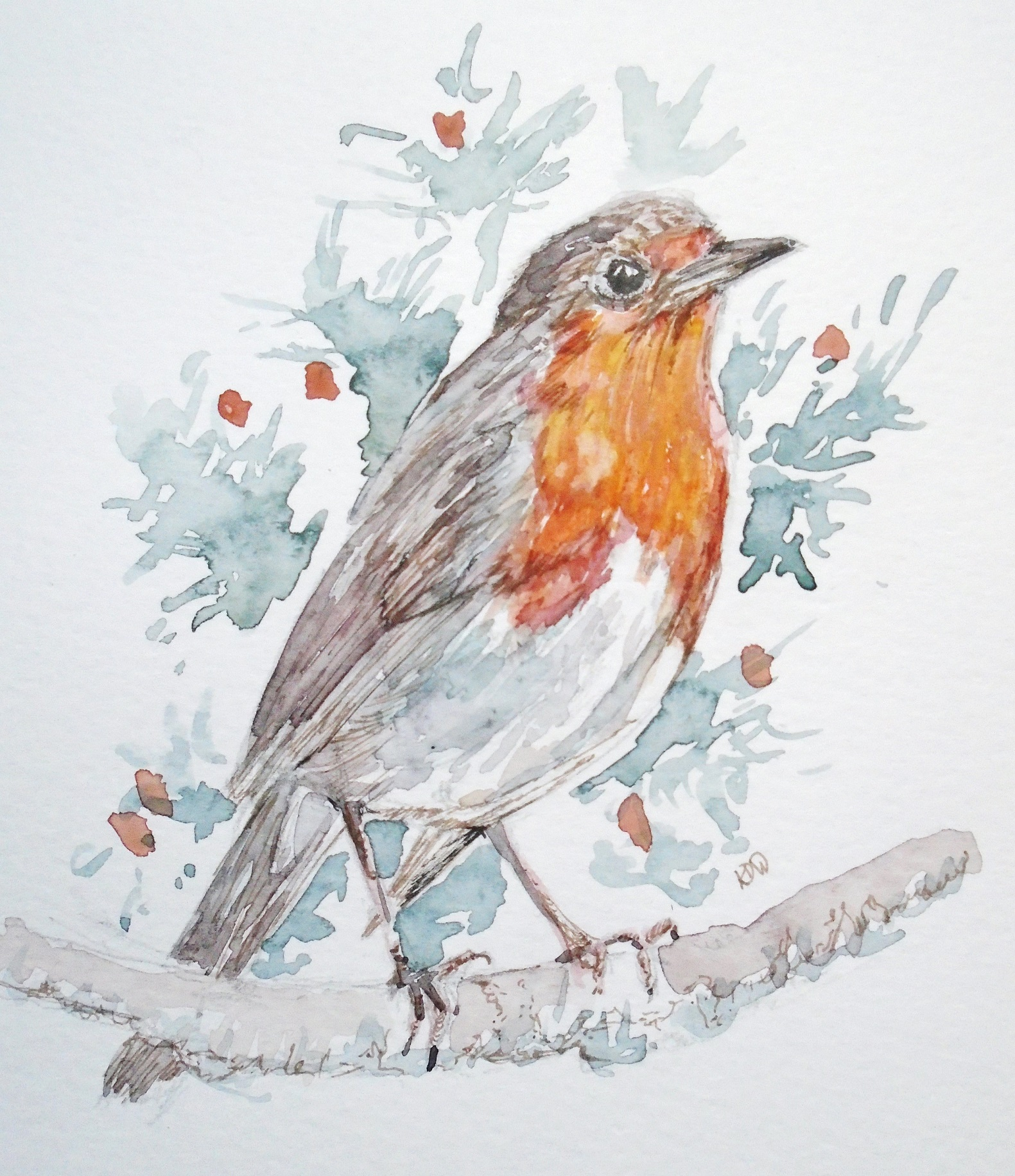 pen and wash robin from paul green pfa dec 2018 30 15 small